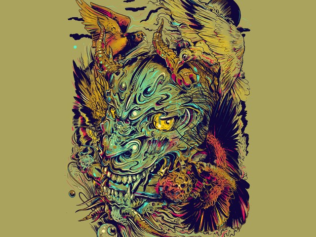Colorful demon portrait with flying birds tattoo design
