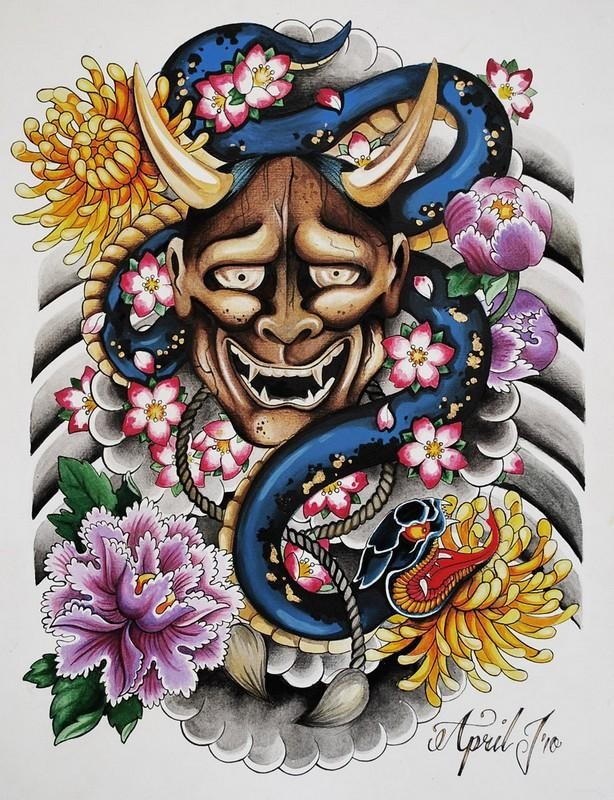 Colorful detailed chinese demon with snake and flowers tattoo design