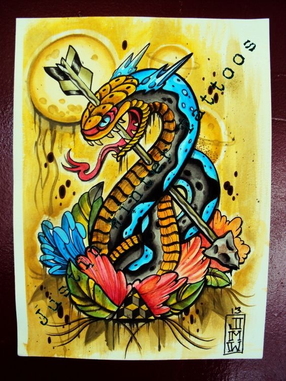 Colorful detailed horned snake pierced with arrow tattoo design