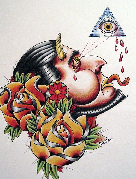 Colorful devil crying from illuminati and beautiful flowers tattoo design by Eexell
