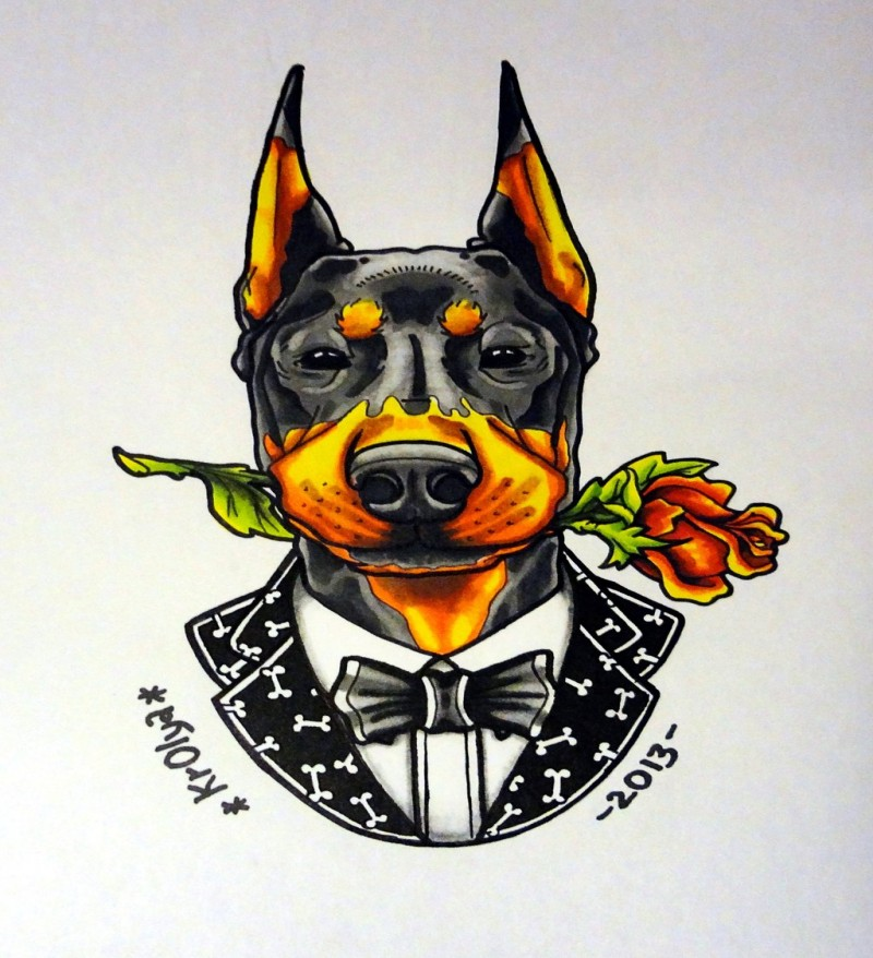 Colorful doberman gentleman with rose tattoo design by 1990 Krolya