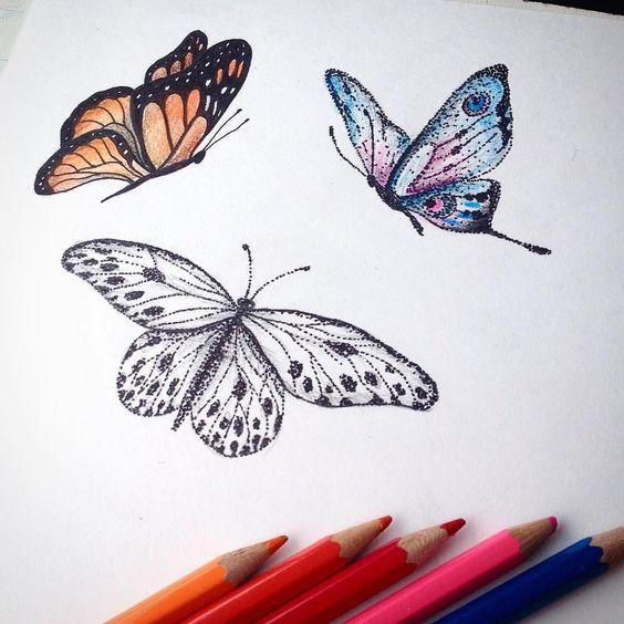 433b866e9 Colorful dotwork flying butterflies tattoo design - Tattooimages.biz