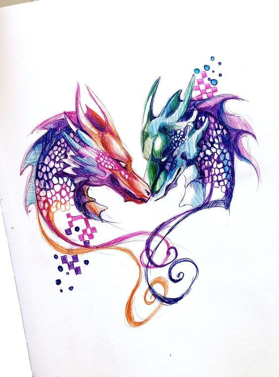 Colorful dragon and wolf heads in curles tattoo design