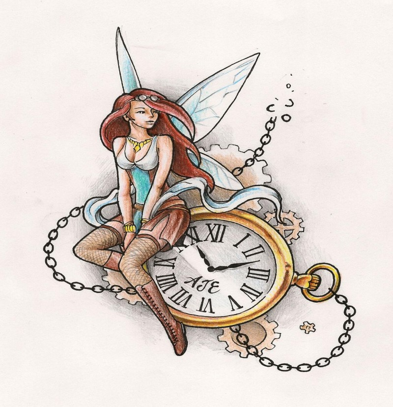 Colorful dreaming steampunk fairy sitting on golden clock tattoo design