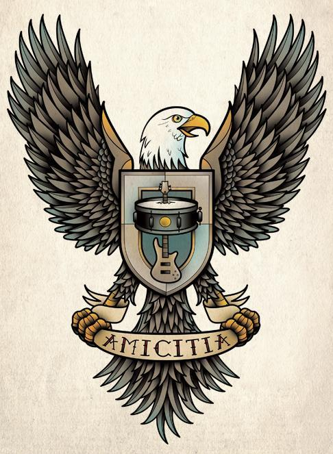 Colorful eagle with coat of arms and banner tattoo design