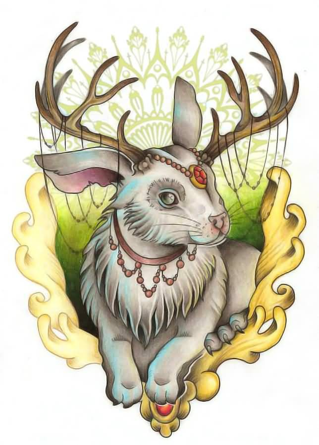 Colorful elk-horned rabbit in golden frame tattoo design