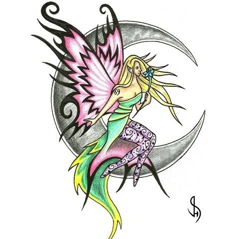 Colorful fairy in printed stockings sitting on half moon tattoo design
