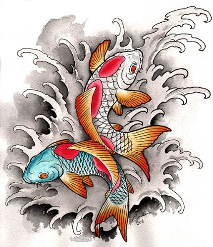 Colorful fishes in grey water splashes tattoo design