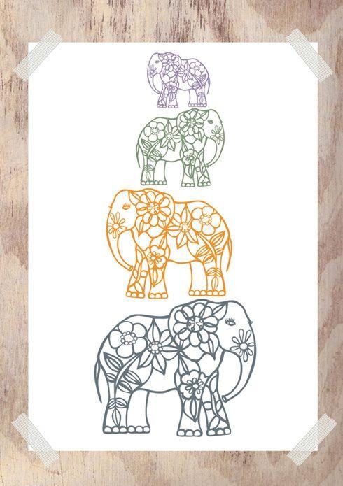 Colorful floral-patterned elephants column tattoo design