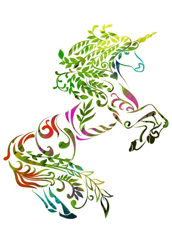 Colorful floral jumping unicorn tattoo design