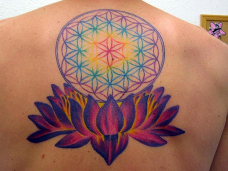 Colorful flower of life in lotus tattoo on backlotus-tattoo