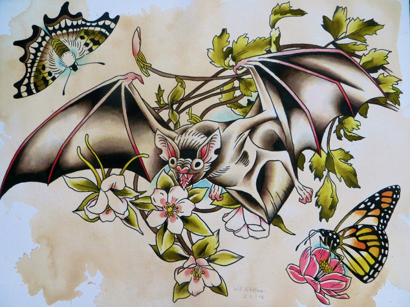 Colorful flying bat and butterflies tattoo design by Will Koffman Tattoo