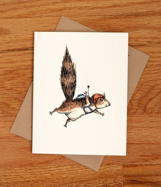 Colorful flying rodent pilot in red helmet tattoo design
