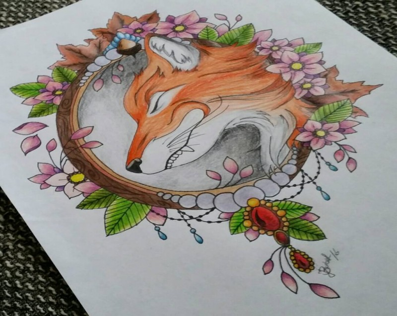 Colorful fox in flowered wooden round frame tattoo design by The Witch Fox
