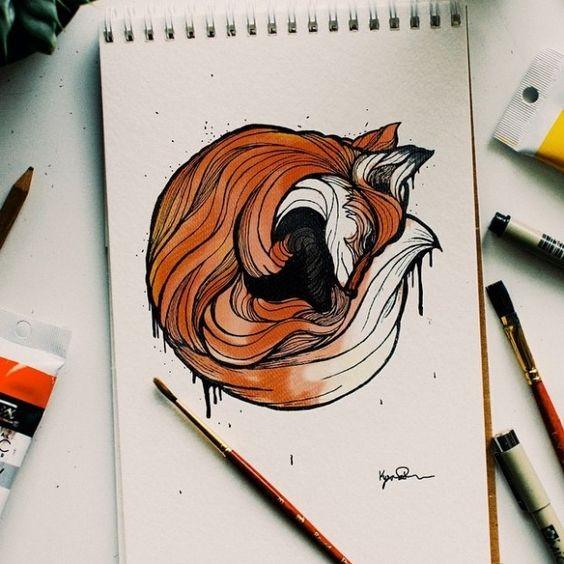 Colorful fox sleeping in curl tattoo design