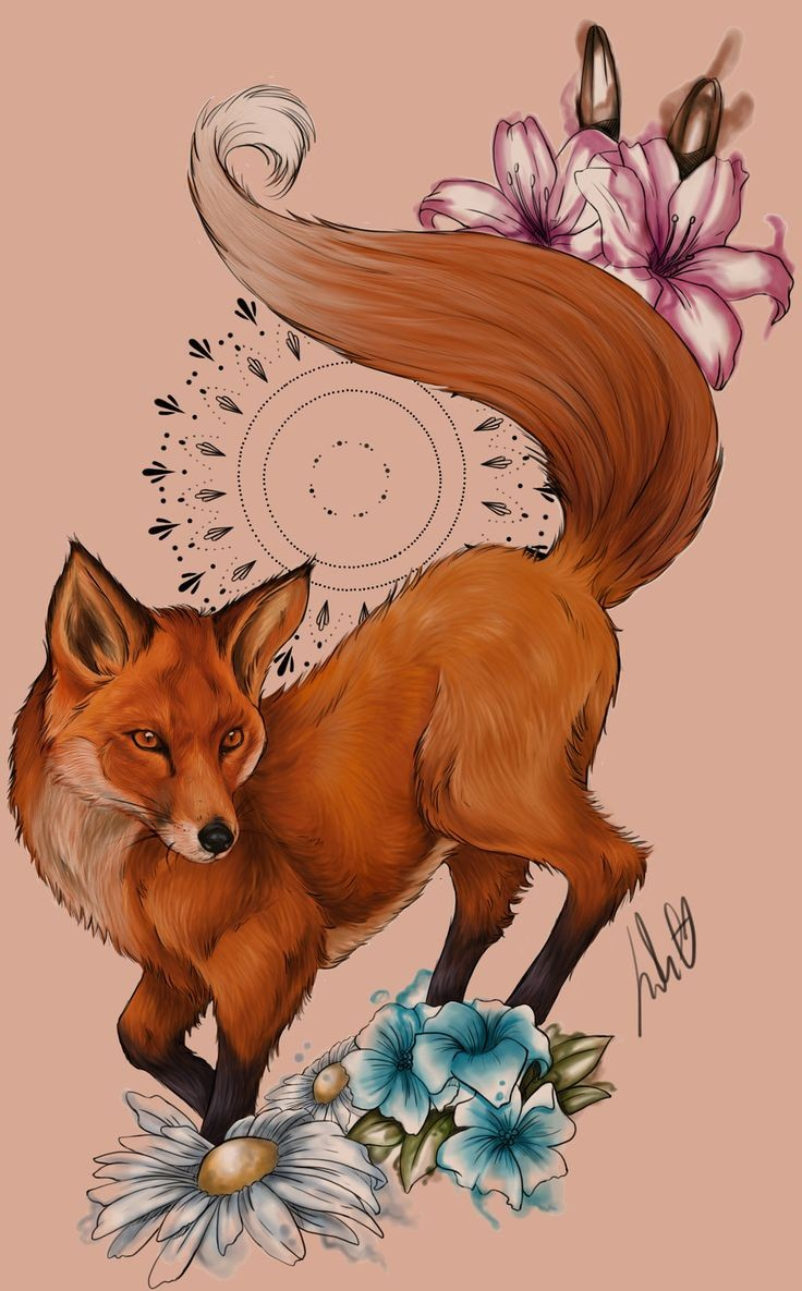 Colorful fox with purple and blue flowers tattoo design
