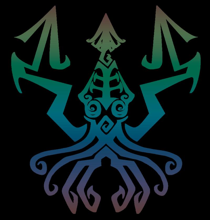 Colorful geometric-line water animal tattoo design by Talianora