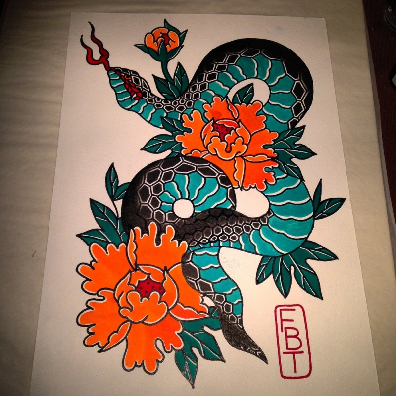Geometric Snake Tattoo Design: Colorful Geometric-scaled Snake And Huge Peonies Tattoo