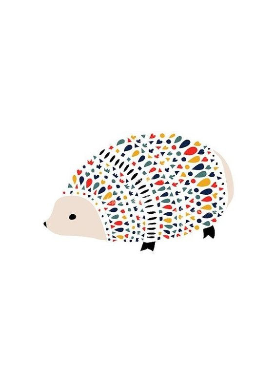 Colorful geometric-spined hedgehog tattoo design