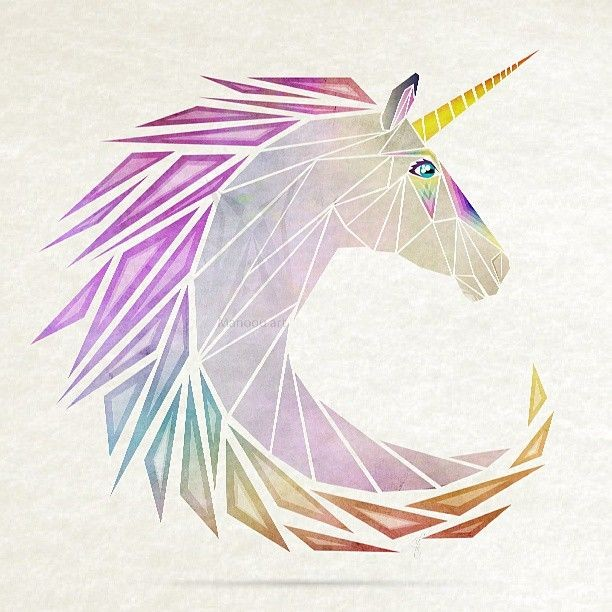 Colorful geometric-style curl-shaped unicorn head tattoo design