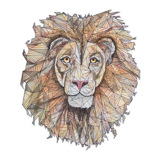Colorful geometric smiling lion head tattoo design