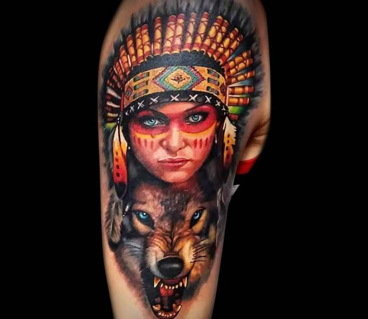 Colorful girl and wild wolf tattoo on shoulder by Bekker Konstantin