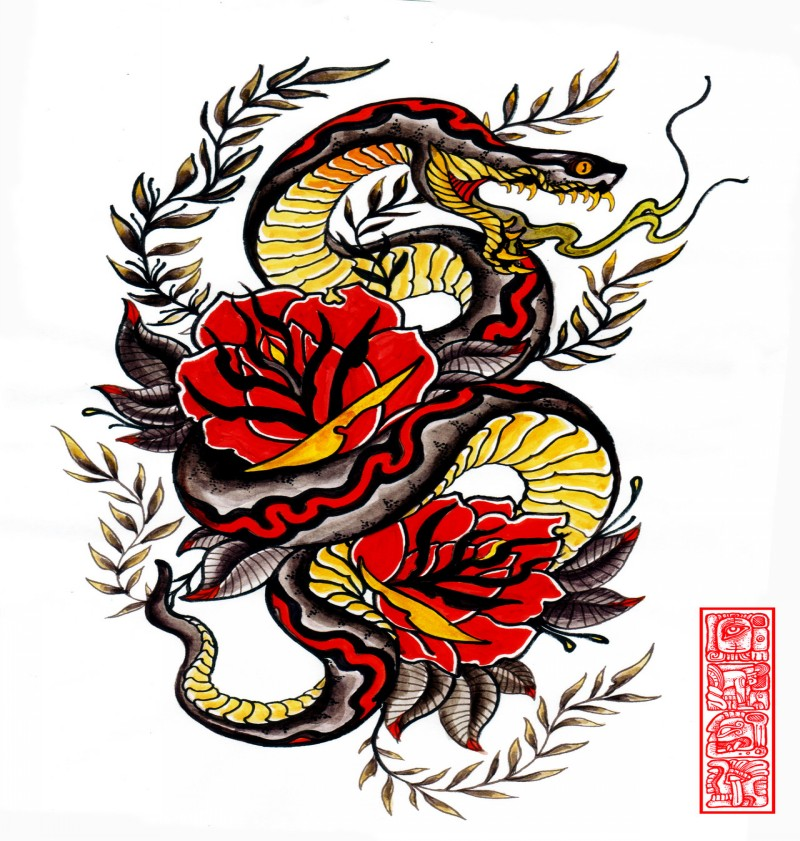 Colorful hissing snake with roses and leaved branches by Burke5