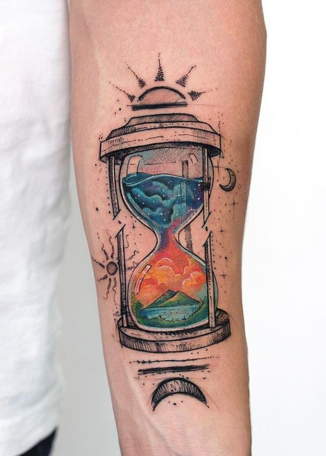 Colorful hourglass forearm tattoo for men