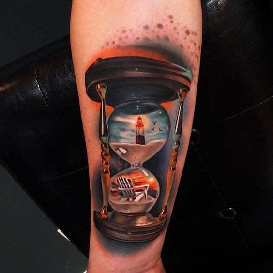 Colorful hourglass tattoo on arm