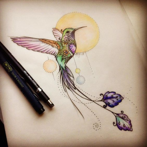 Colorful hummingbird on shining sun background tattoo design