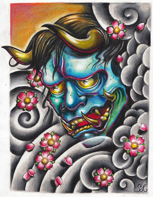 Colorful japanese demon face with cherry blossom and dark clouds tattoo design