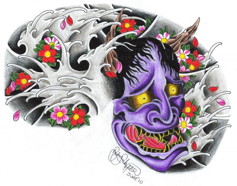 Colorful japanese demon head and sakura blossom tattoo design by Ryanschipper89