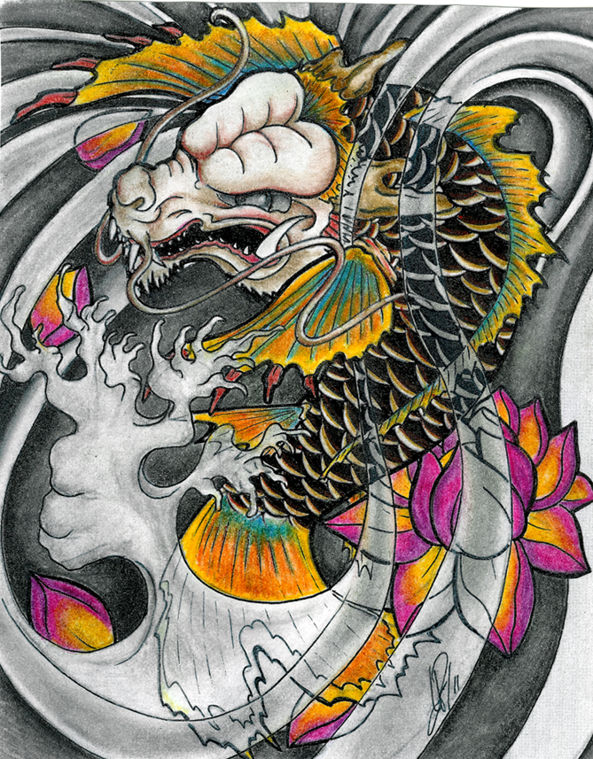 Colorful japanese koi fish dragon and peony flowers tattoo design by Skelos