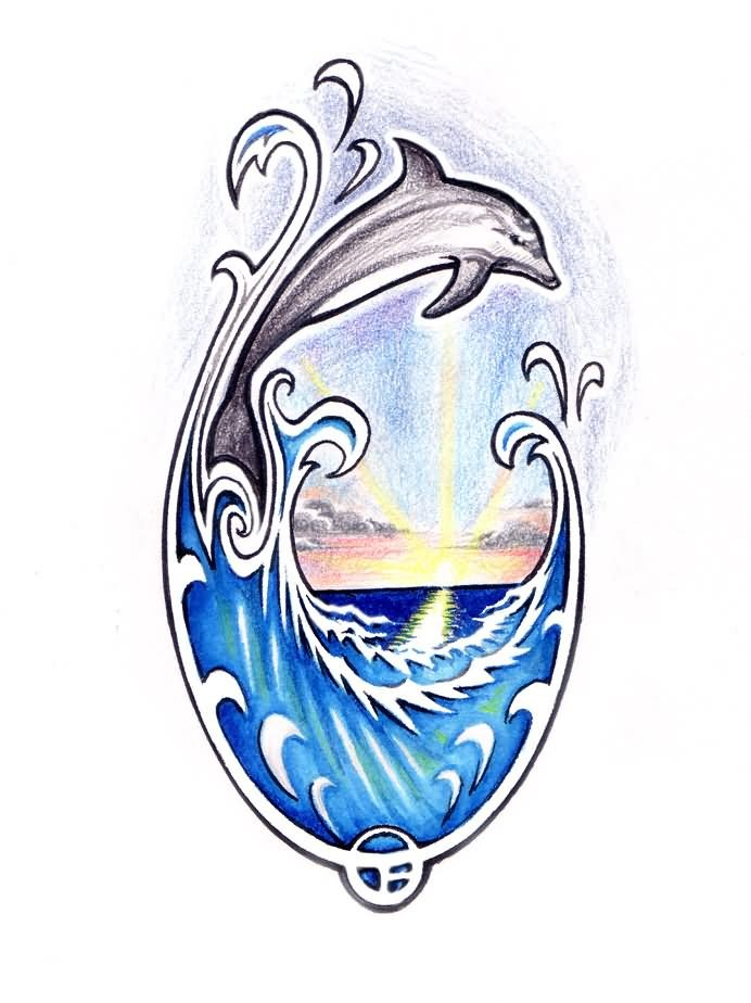 Colorful jumping dolphin on sunrise background tattoo design