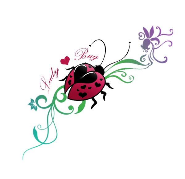 Colorful ladybug with heart shaped spots on flowered stem for Ladybug heart tattoos