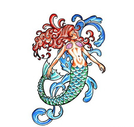 Colorful mermaid figure on splashed water background tattoo design