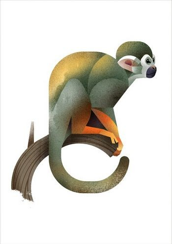 Colorful monkey baby ready to jump tattoo design