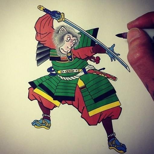Colorful monkey samurai in old school style tattoo design