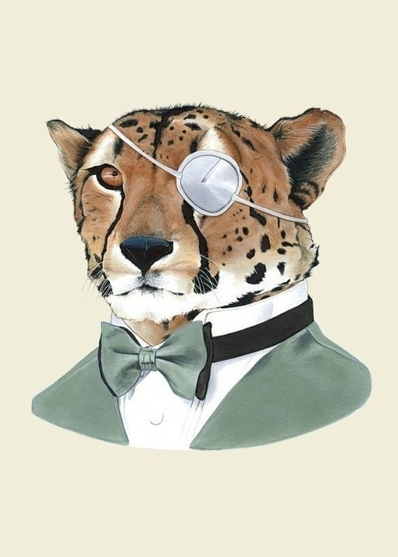 Colorful mr cheetah in suit and tie-bow with eye-band tattoo design