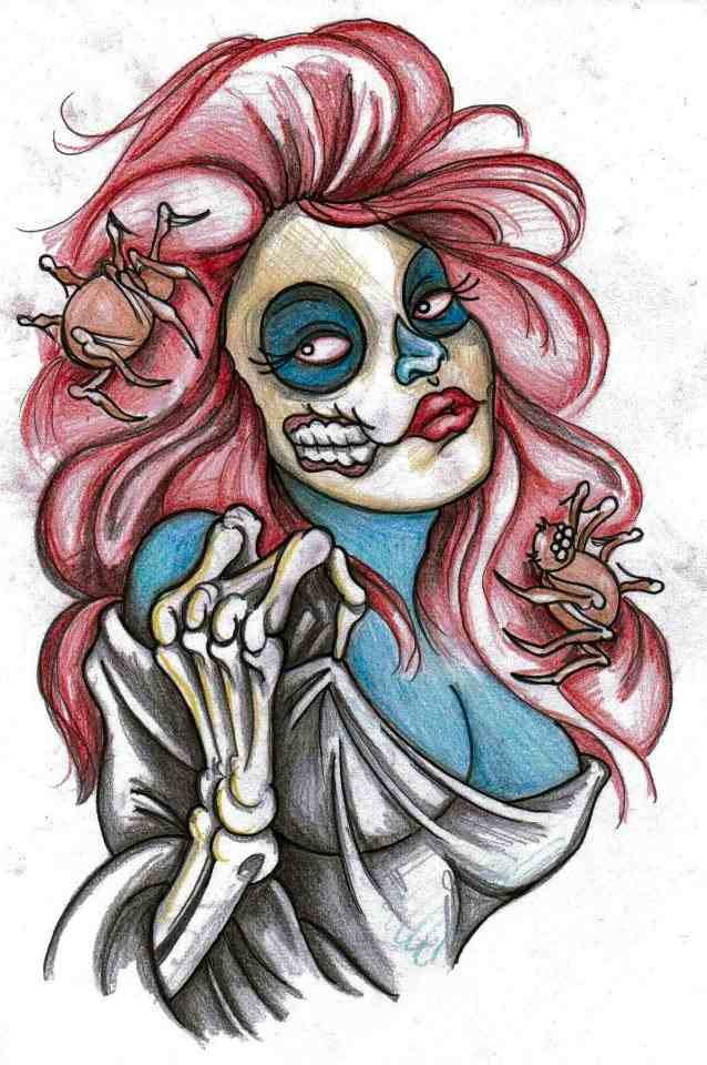Colorful muerte zombie girl with pink hair tattoo design