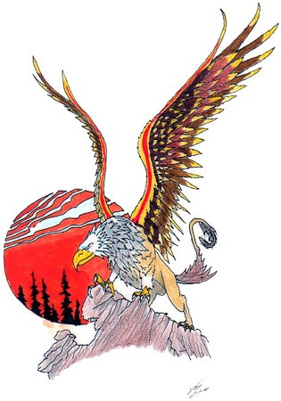 Colorful mythical griffin standing on rock on red sun background tattoo design