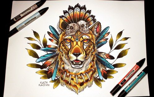 Colorful native american cheetah with feathers and leaves decorations tattoo design by Katya Kabum