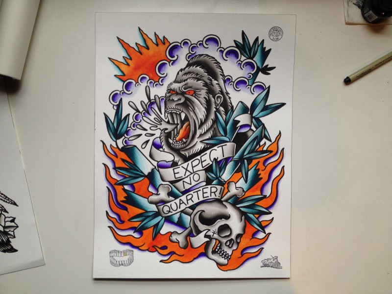 Colorful new school gorilla with skull and banner on flaming background tattoo design