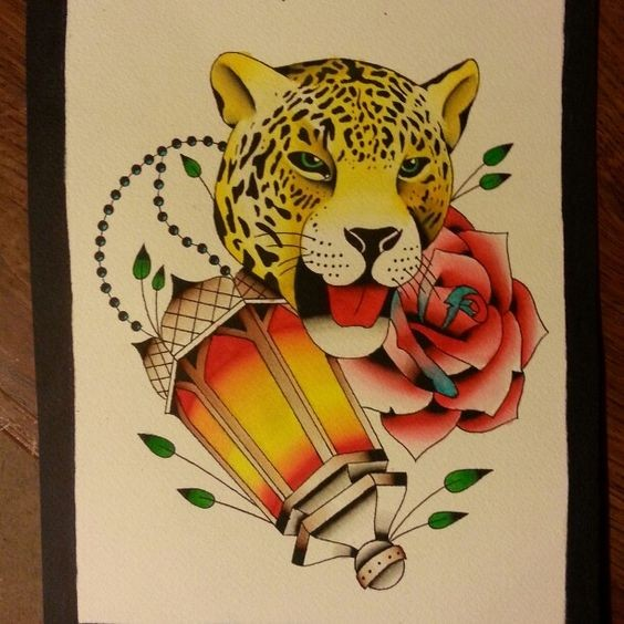 Colorful new school jaguar head with rose and shining lamp tattoo design