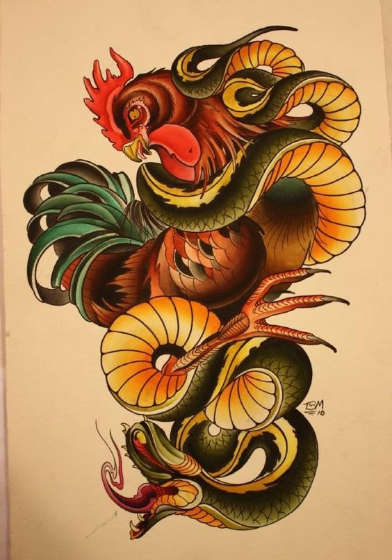 Colorful new school snake squeezing a cock tattoo design