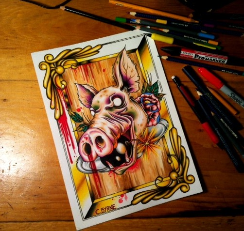 Colorful new school zombie pig with bomb in mouth tattoo design by Itchysack
