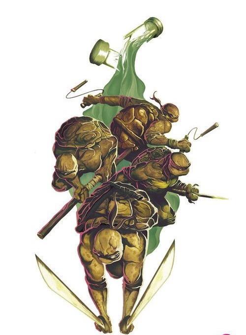 Colorful ninja mutant turtle band and broken bulb tattoo design