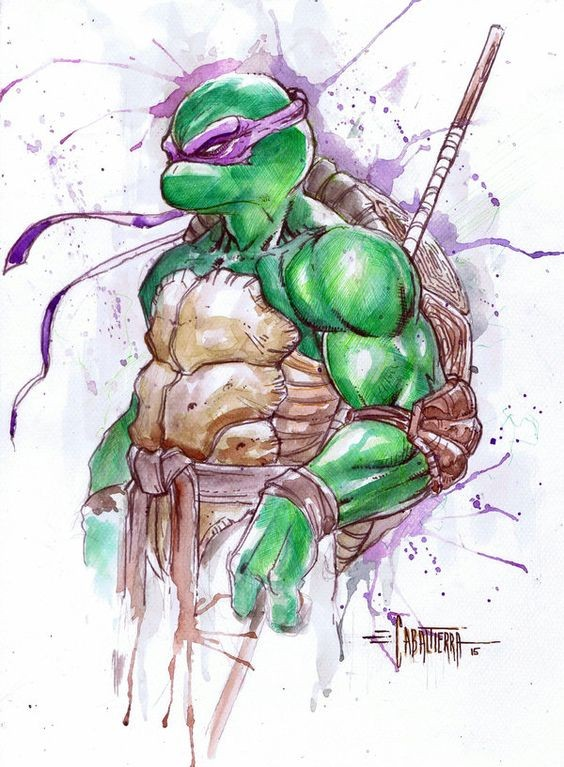 Colorful ninja mutant turtle in purple eye-stripe tattoo design