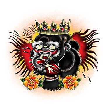 Colorful old school crowned monkey king tattoo design
