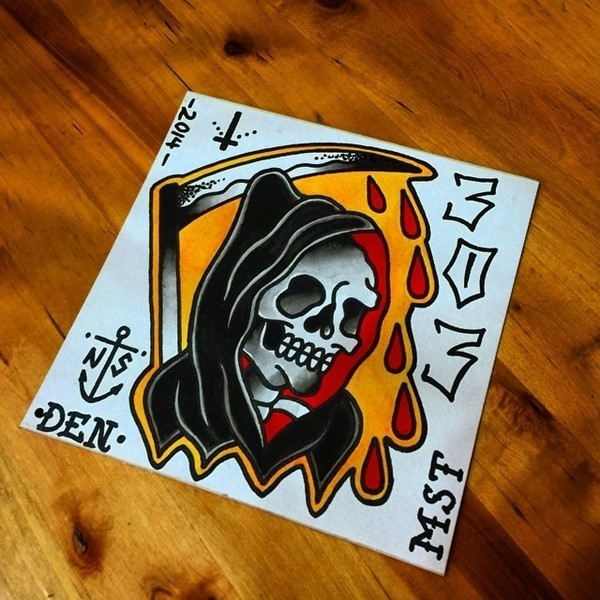 Colorful old school death with a scythe on orange background tattoo design